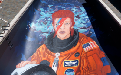 Mural de David Bowie en una piscina privada en Seattle.