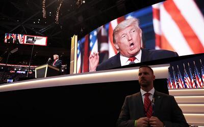 Trump durante su discurso al cierre de la Convención Republicana.