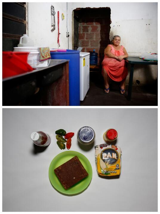 """Arriba, Antonia Torres. Abajo, la comida que tiene en su casa. """"Como men..."""