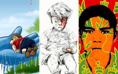 A través de las ilustraciones, el público interpreta la tragedia