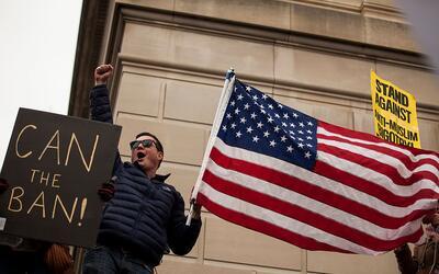 Una protesta en Washington contra el veto migratorio de Trump