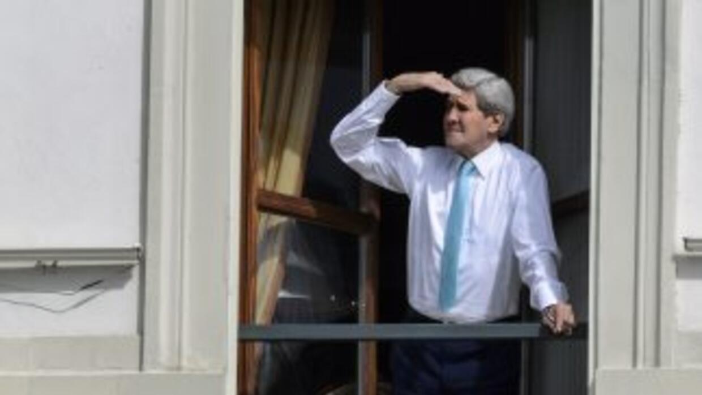 El Secretario de Estado de Estados Unidos, John Kerry, en el hotel donde...