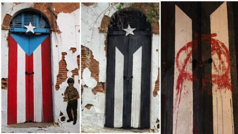 Cambios de color de la puerta-bandera en San Juan