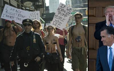 A la izquierda, un grupo que partió temprano el sábado hacia la Torre Tr...