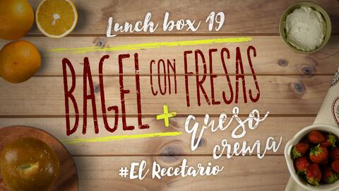 Bagel con fresas + chips de remolacha (Día 19) - 23 ideas para lunch box...