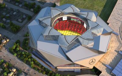 Una imagen computarizada del nuevo estadio y tu techo retractil.