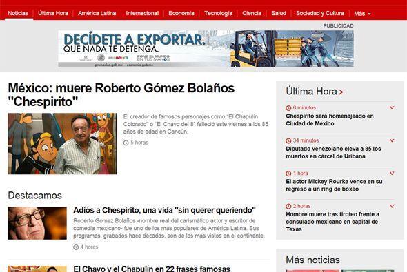 El portal británico BBC Mundo también mostró varios artículos sobre el c...