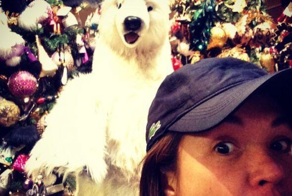 Yolanda Andrade se mostró un poco espantada con un oso polar a sus espal...