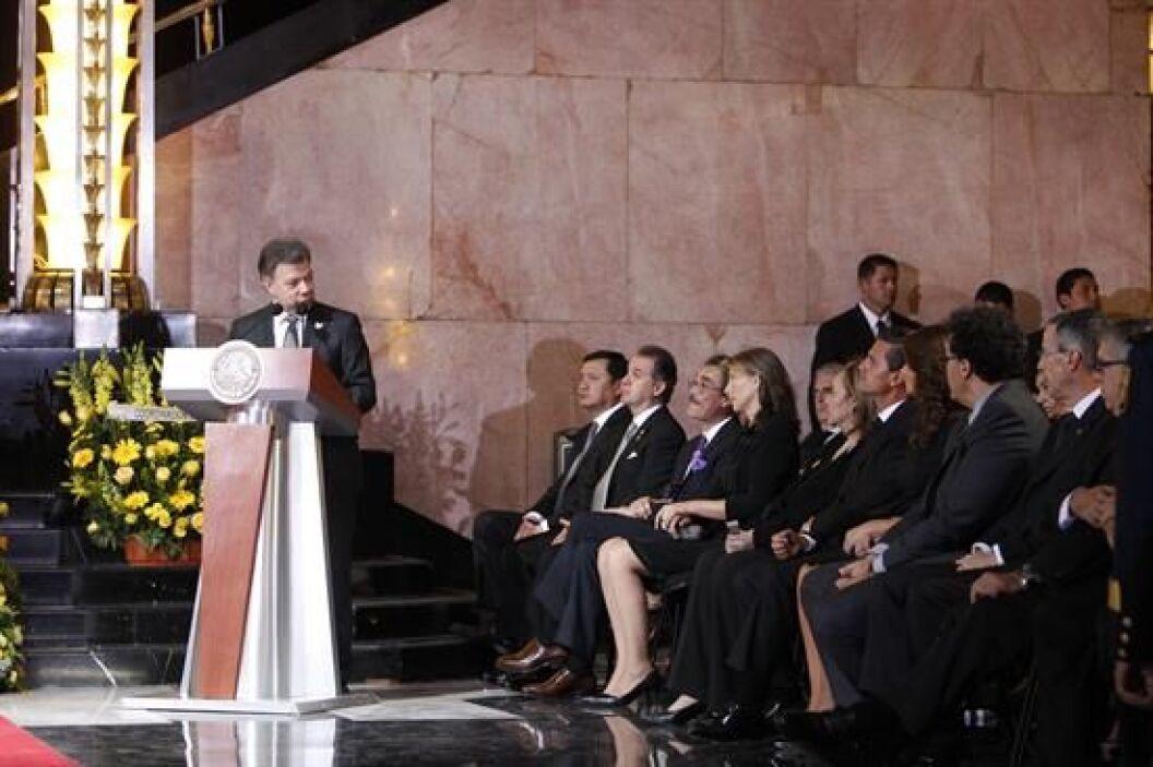 El presidente de Juan Manuel Santos ofreció unas palabras durante el hom...