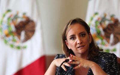 La canciller mexicana Claudia Ruiz Massieu en conferencia de prensa.