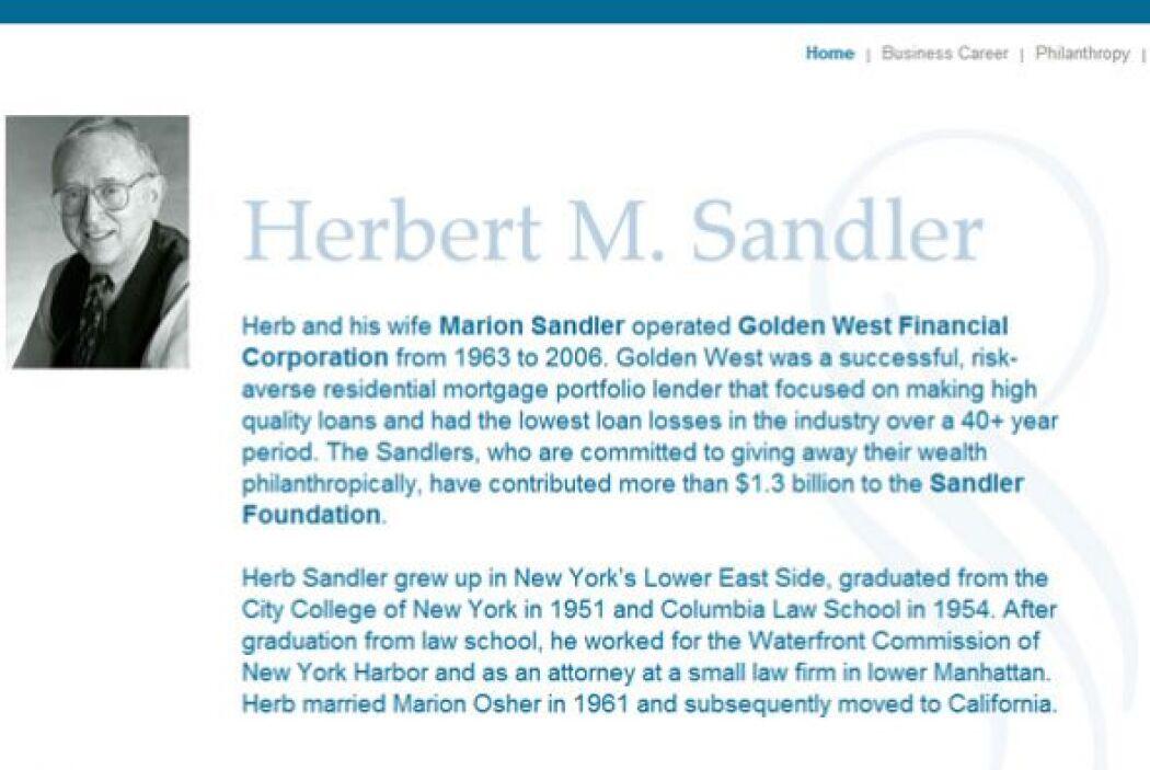 HERBERT SANDLER   Donaciones:$1.5 mil millones.  Patrimonio neto:$150 mi...
