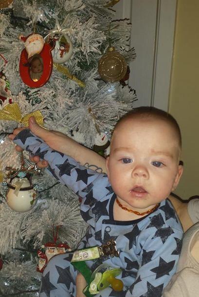 Para poner el arbolito de navidad, los bebés ayudaron.