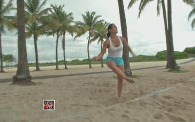 Alba Galindo se fue a jugar Footvolley