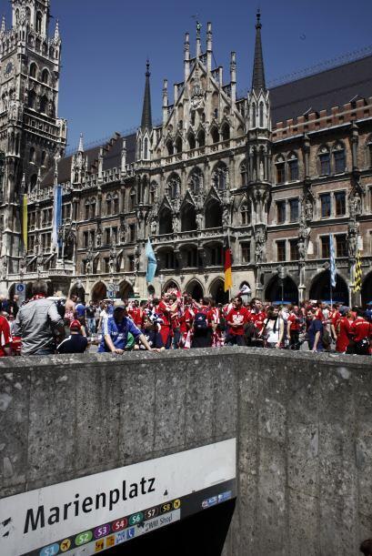 Marienplatz, en el centro de Múnich, fue uno de los lugares de ma...