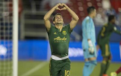 Sebastián Blanco festeja gol Portland Timbers vs. FC Dallas