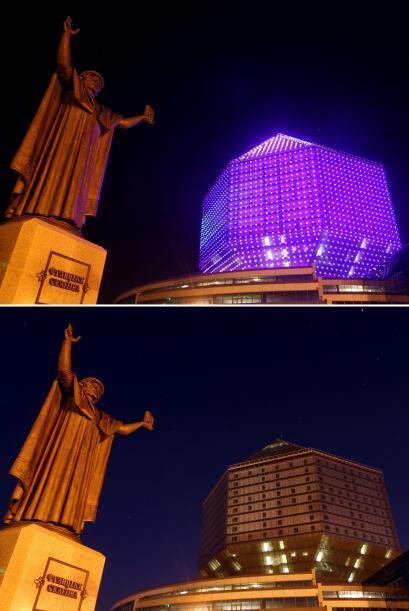 Aquí el centro de Minsk, con la Biblioteca Nacional de Bielorrusia emerg...