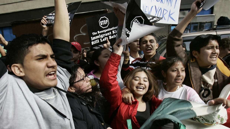 Dreamers durante una manifestación en contra de la política de deportaci...