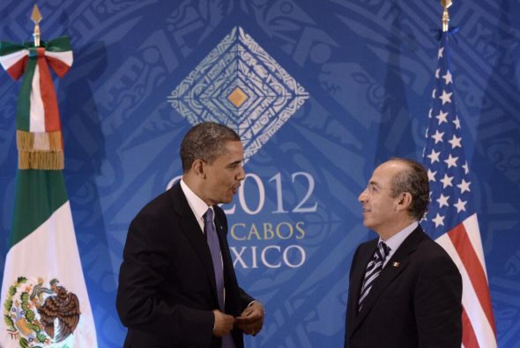Al final de la reunión bilateral con Calderón, Obama se dirigió a los me...