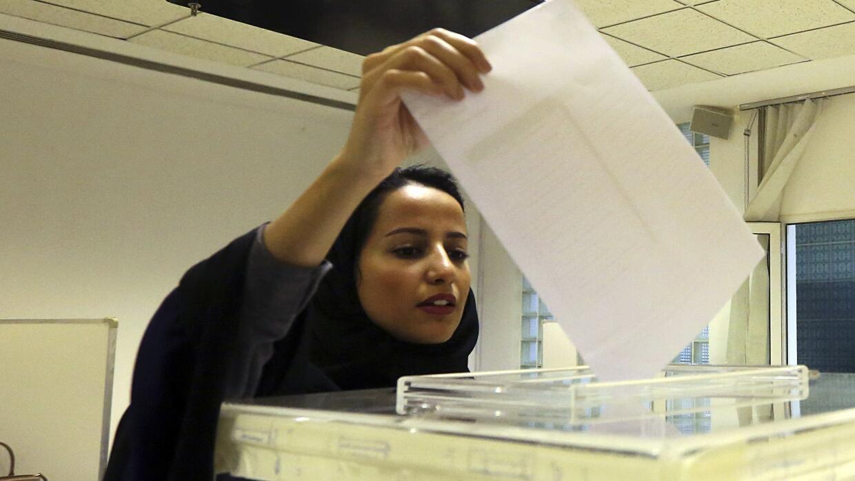 Una votante en Arabia Saudita