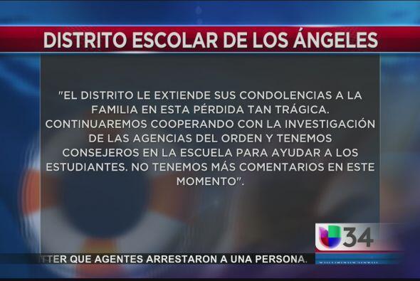 Por su parte el distrito escolar extendió un mensaje de condolenc...