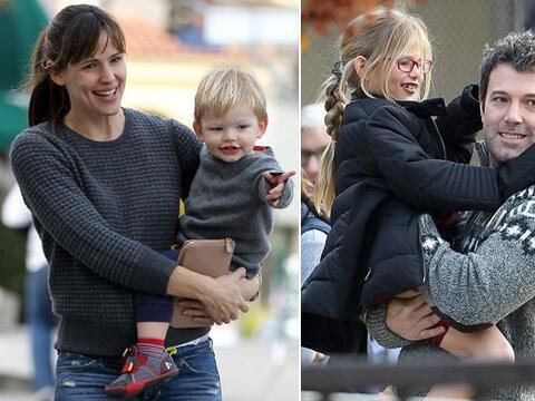 Los famosos llevaron a sus tres hijos, Violet, Seraphina y Samuel a un b...