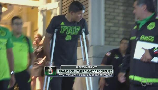 'Maza' Rodríguez es duda ante T&T, salió con muletas del entrenamiento