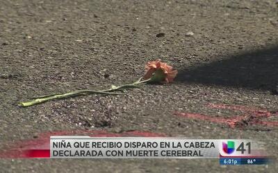 Muerte cerebral a una niña hispana que sufrió un disparo en la cabeza