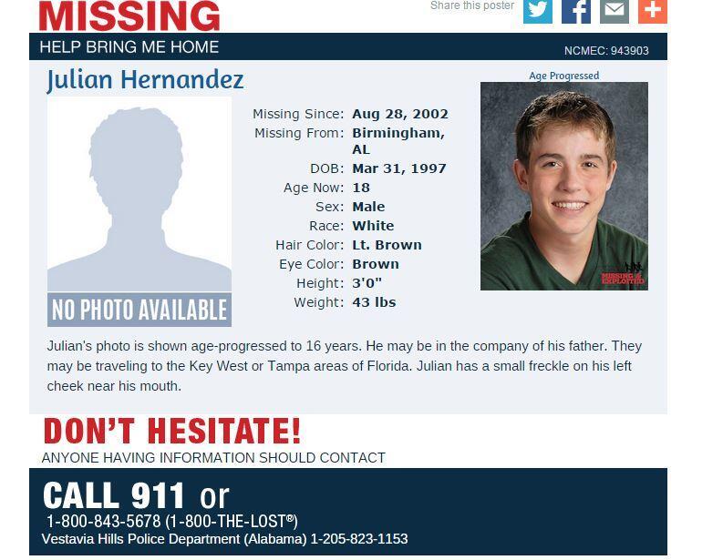 El niño latino desaparecido por más de una década
