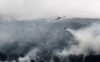 Un incendio en Indonesia.