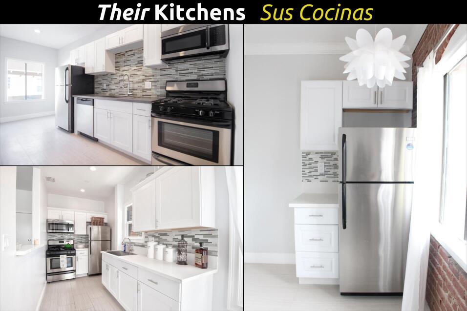 Cocina de apartamento remodelado.