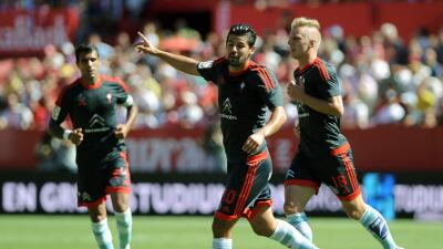 Nolito celebra el gol ante Sevilla