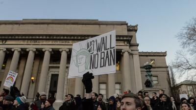 Una protesta en la universidad de Columbia, en Nueva York.