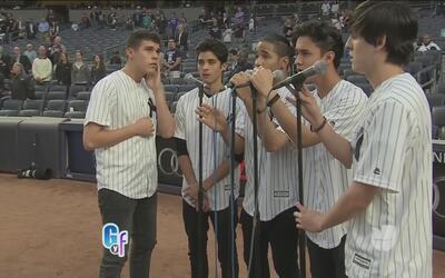 Los chicos de CNCO cantaronel Himno Nacional en el estadio de los Yankees!