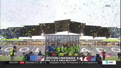 Celebración de Seattle Sounders tras clasificar a la final de la MLS