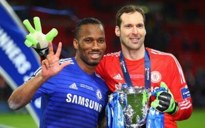 Didier Drogba y Peter Cech, Chelsea FC