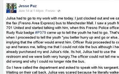 Policía de Fresno impide que un hispano use el autobús