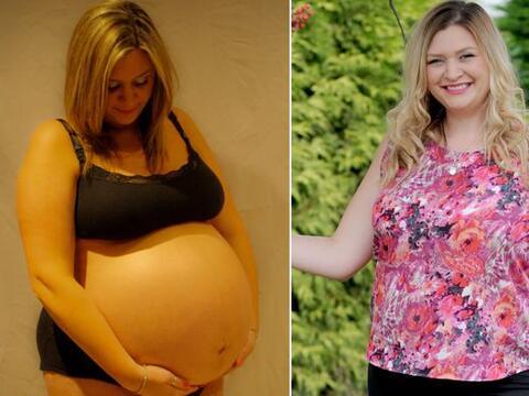 Después de subir más de 90 libras durante su primer embara...