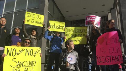 Manifestantes se presentaron a una corte de distrito en San Francisco an...