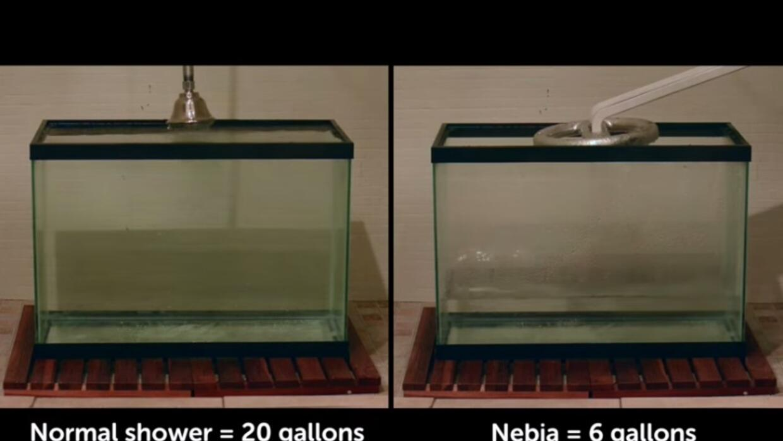En un baño de 8 minutos, se usan 20 galones de agua, pero Nebia cambia esto