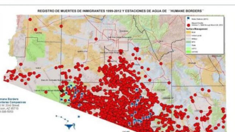"""Mapa muestra el """"corredor de la muerte"""" en la frontera de Arizona"""