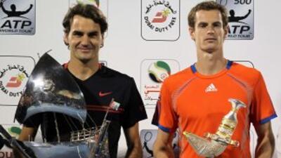 Federer y Murray en la foto final de Dubái.