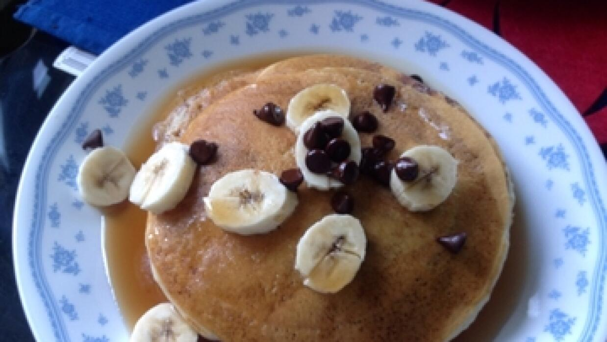 Banana chocolate chip pancake