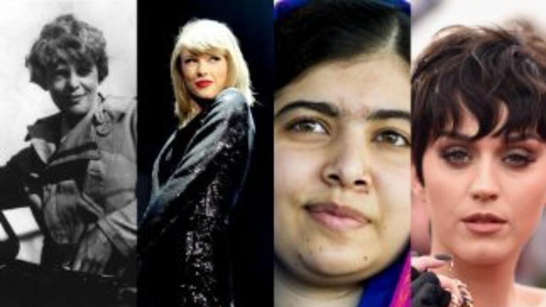 Amelia Earhart, Taylor Swift, Malala y Katy Perry.