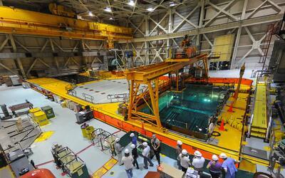 Combustible nuclear altamente radioactivo almacenado bajo el agua en la...