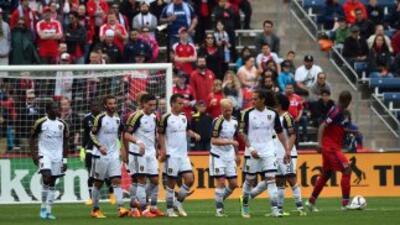 Real Salt Lake celebra un gol de Álvaro Saborío
