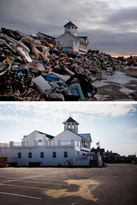 El pabellón de Monmouth Beach en Nueva Jersey lucía lleno de escombros e...