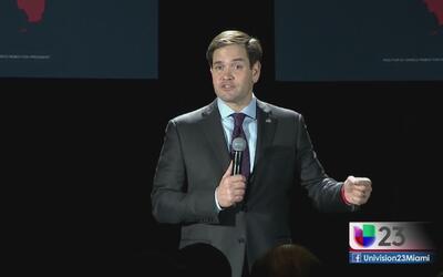 Macro Rubio no responde preguntas de la prensa en Miami