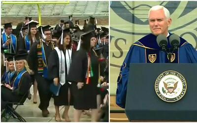 Alumnos en Indiana abandonan su acto de graduación al ver que Mike Pence...