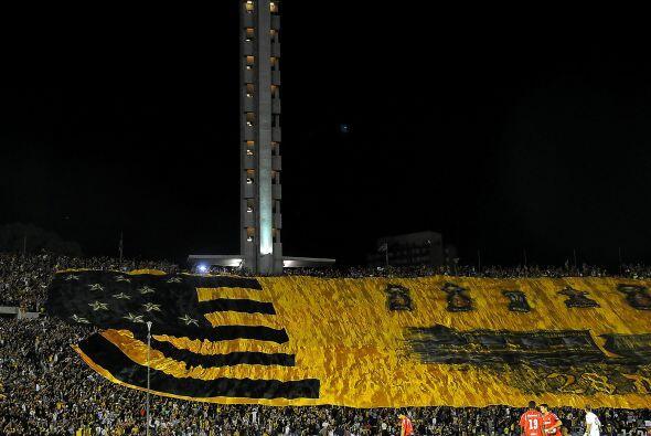 La bandera cubriendo tres tribunas, esta es una de ellas, 309 metros de...