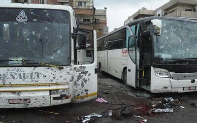 Imagen publicada por la agencia oficial siria del lugar donde se produjo...